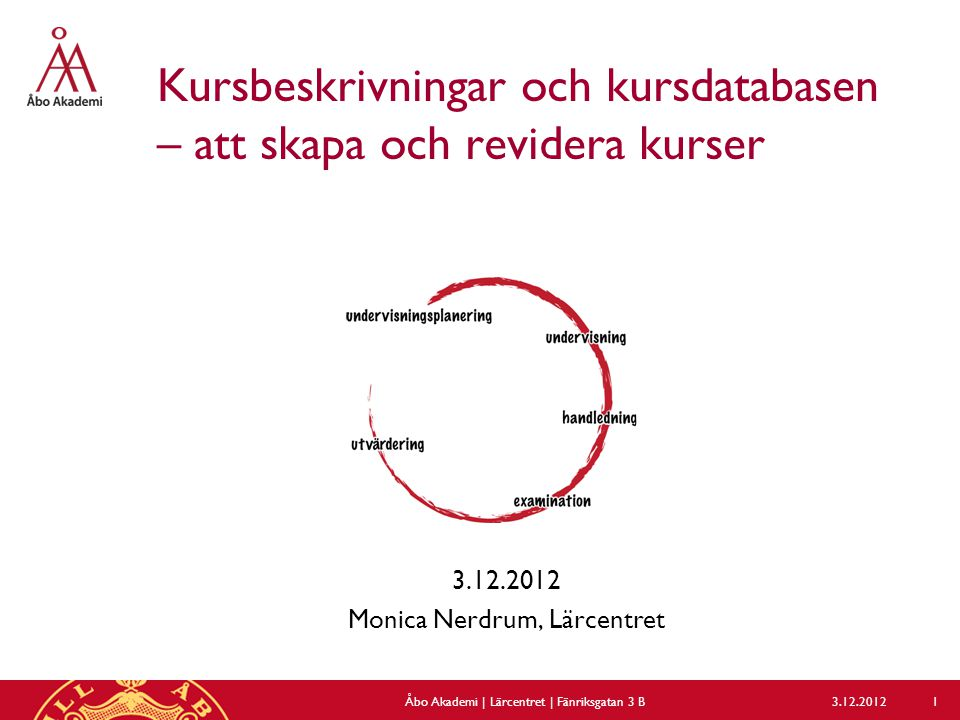 Kursbeskrivningar och kursdatabasen – att skapa och revidera kurser 3.12.2012 Monica Nerdrum, Lärcentret 3.12.2012Åbo Akademi | Lärcentret | Fänriksgatan 3 B 1