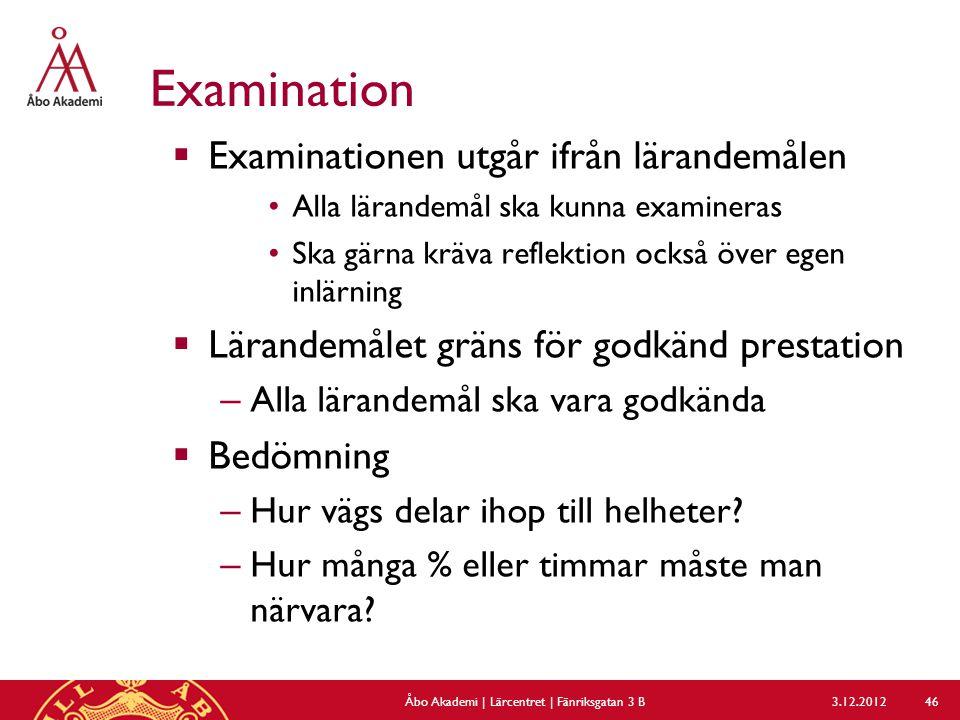 Examination  Examinationen utgår ifrån lärandemålen Alla lärandemål ska kunna examineras Ska gärna kräva reflektion också över egen inlärning  Läran
