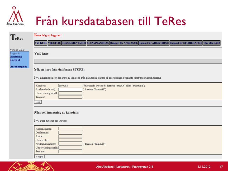 Från kursdatabasen till TeRes 3.12.2012Åbo Akademi | Lärcentret | Fänriksgatan 3 B 47