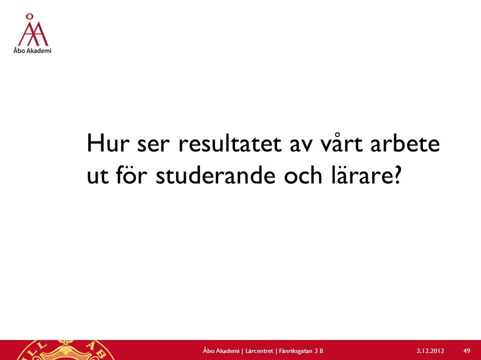 Hur ser resultatet av vårt arbete ut för studerande och lärare? 3.12.2012Åbo Akademi | Lärcentret | Fänriksgatan 3 B 49