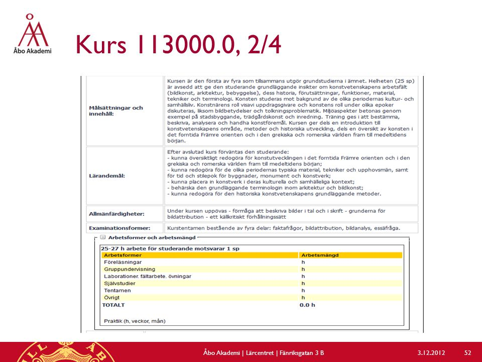 Kurs 113000.0, 2/4 3.12.2012Åbo Akademi | Lärcentret | Fänriksgatan 3 B 52