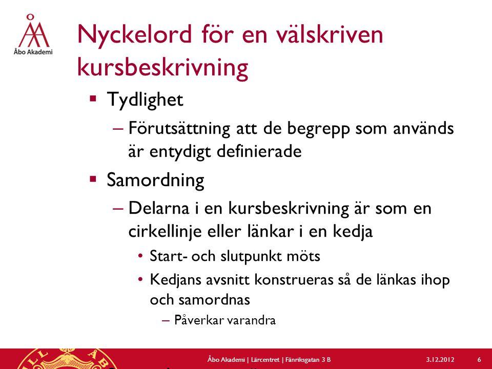 Beskrivning – flik 3 (nedre delen) 3.12.2012Åbo Akademi | Lärcentret | Fänriksgatan 3 B 27