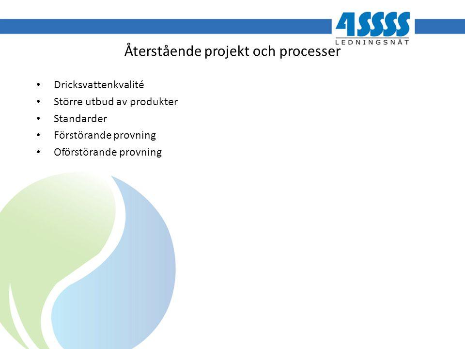Återstående projekt och processer Dricksvattenkvalité Större utbud av produkter Standarder Förstörande provning Oförstörande provning