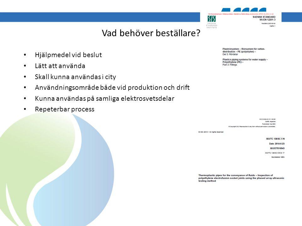 Vad behöver beställare? Hjälpmedel vid beslut Lätt att använda Skall kunna användas i city Användningsområde både vid produktion och drift Kunna använ