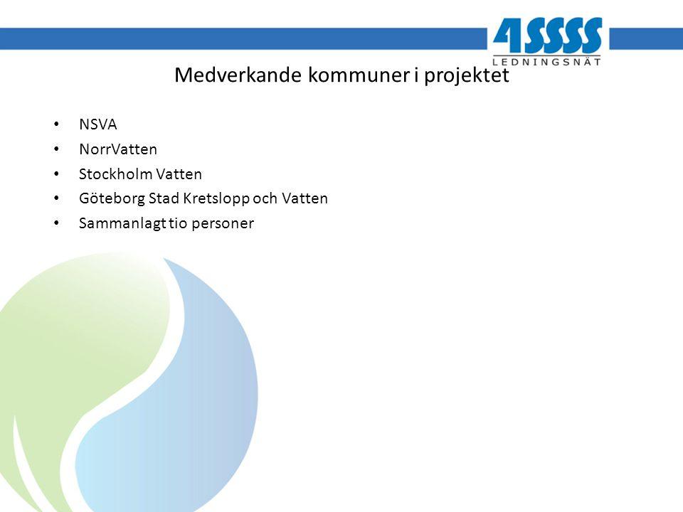 Medverkande kommuner i projektet NSVA NorrVatten Stockholm Vatten Göteborg Stad Kretslopp och Vatten Sammanlagt tio personer