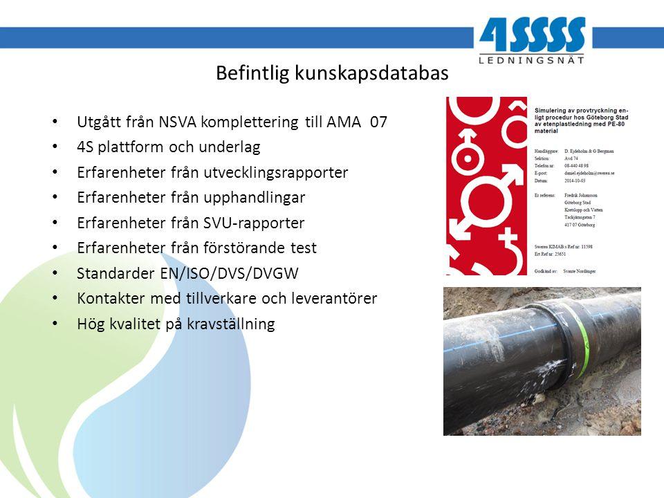 Befintlig kunskapsdatabas Utgått från NSVA komplettering till AMA 07 4S plattform och underlag Erfarenheter från utvecklingsrapporter Erfarenheter frå