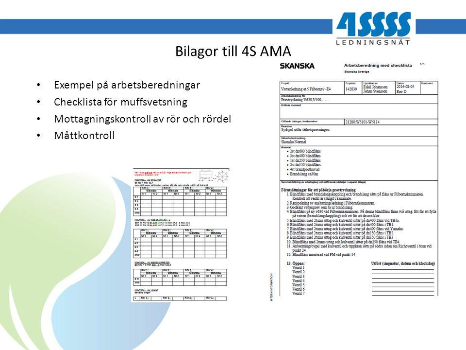 Bilagor till 4S AMA Exempel på arbetsberedningar Checklista för muffsvetsning Mottagningskontroll av rör och rördel Måttkontroll