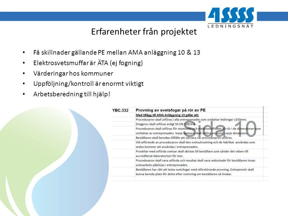 Erfarenheter från projektet Få skillnader gällande PE mellan AMA anläggning 10 & 13 Elektrosvetsmuffar är ÄTA (ej fogning) Värderingar hos kommuner Up