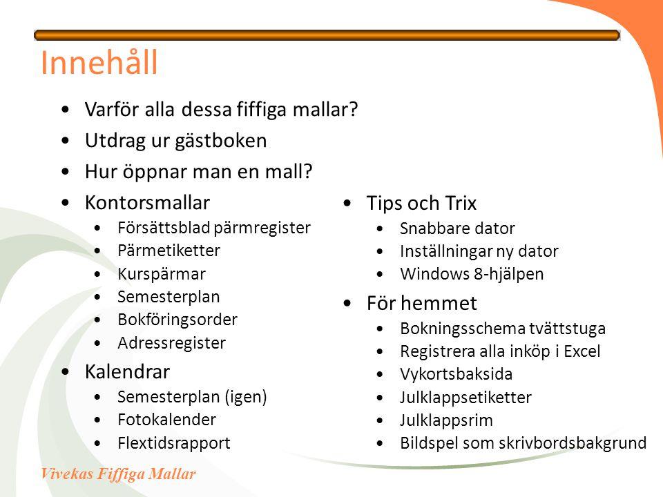 Vivekas Fiffiga Mallar Innehåll Varför alla dessa fiffiga mallar.
