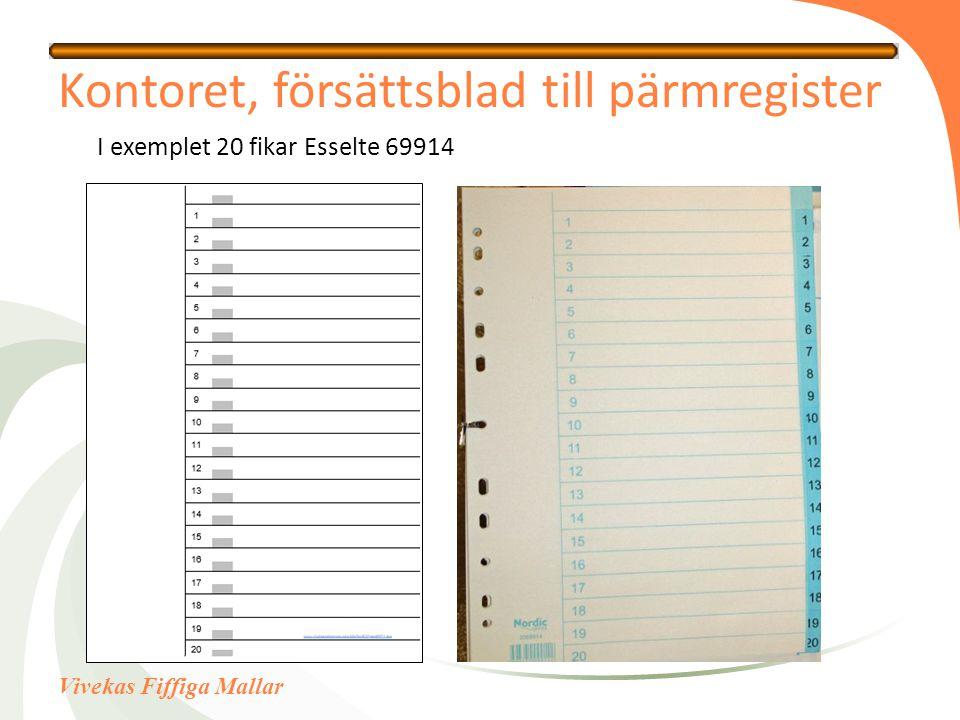 Vivekas Fiffiga Mallar Kontoret, försättsblad till pärmregister I exemplet 20 fikar Esselte 69914
