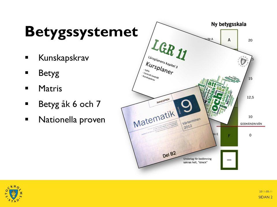 Betygssystemet  Kunskapskrav  Betyg  Matris  Betyg åk 6 och 7  Nationella proven 2011-05-11 SIDAN 2