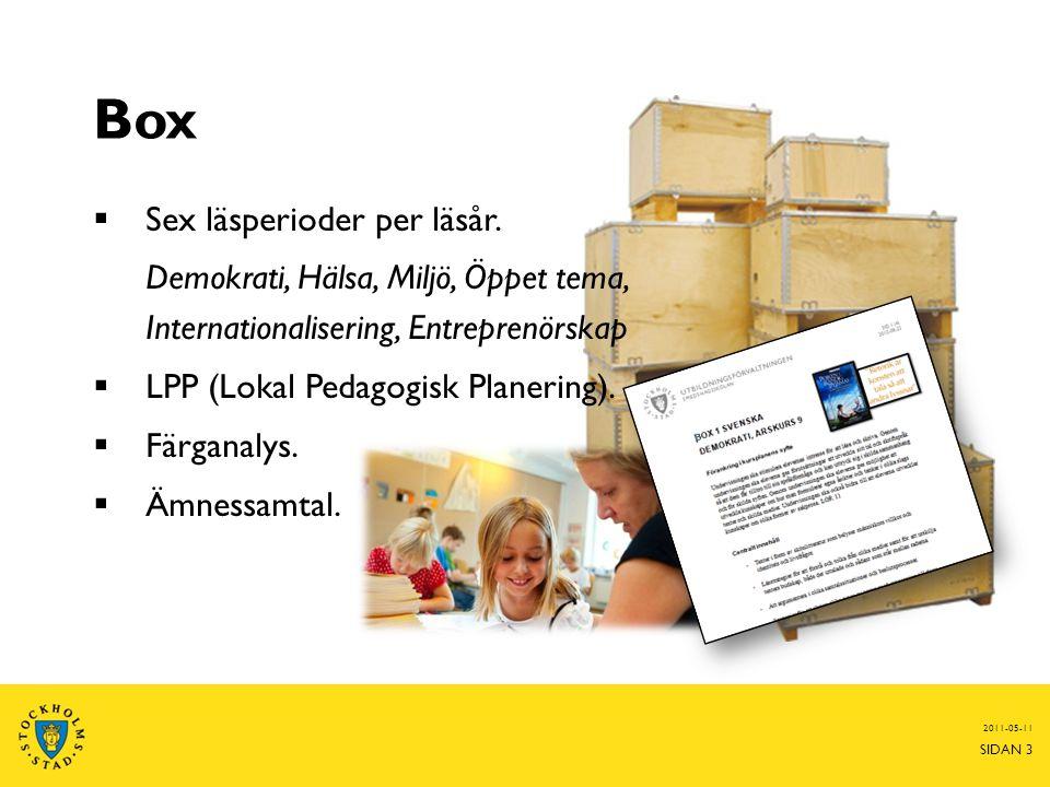 Box  Sex läsperioder per läsår. Demokrati, Hälsa, Miljö, Öppet tema, Internationalisering, Entreprenörskap  LPP (Lokal Pedagogisk Planering).  Färg