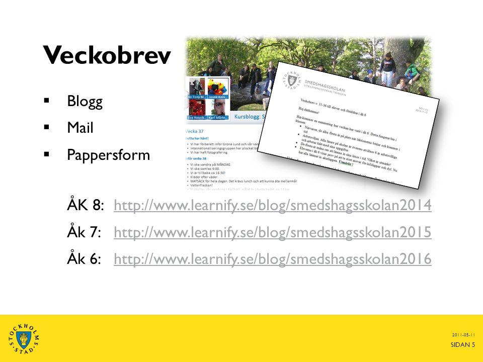 Veckobrev  Blogg  Mail  Pappersform ÅK 8: http://www.learnify.se/blog/smedshagsskolan2014http://www.learnify.se/blog/smedshagsskolan2014 Åk 7: http