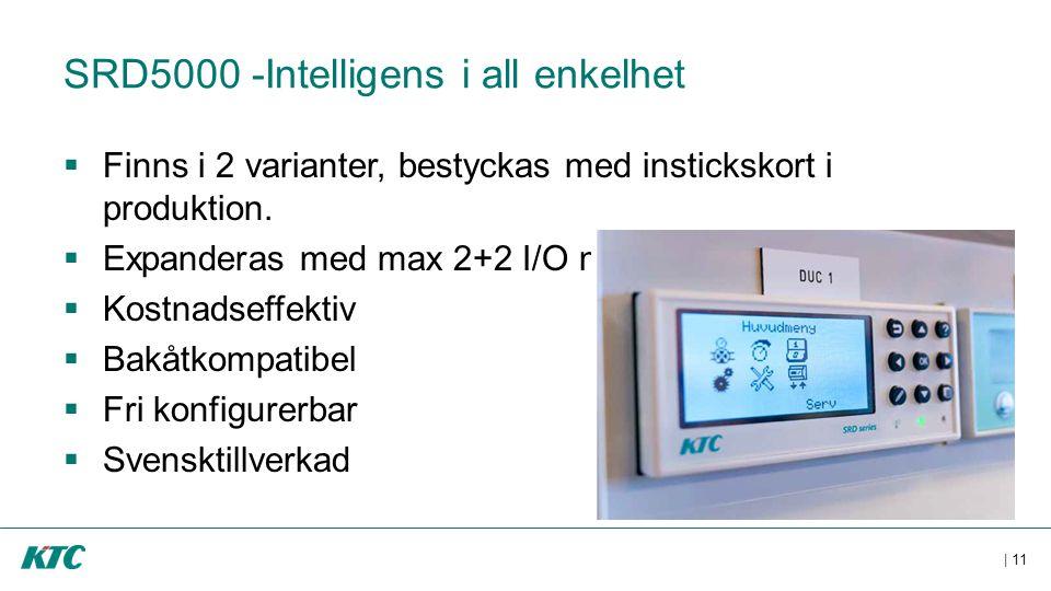 | 11 SRD5000 -Intelligens i all enkelhet  Finns i 2 varianter, bestyckas med instickskort i produktion.  Expanderas med max 2+2 I/O moduler  Kostna