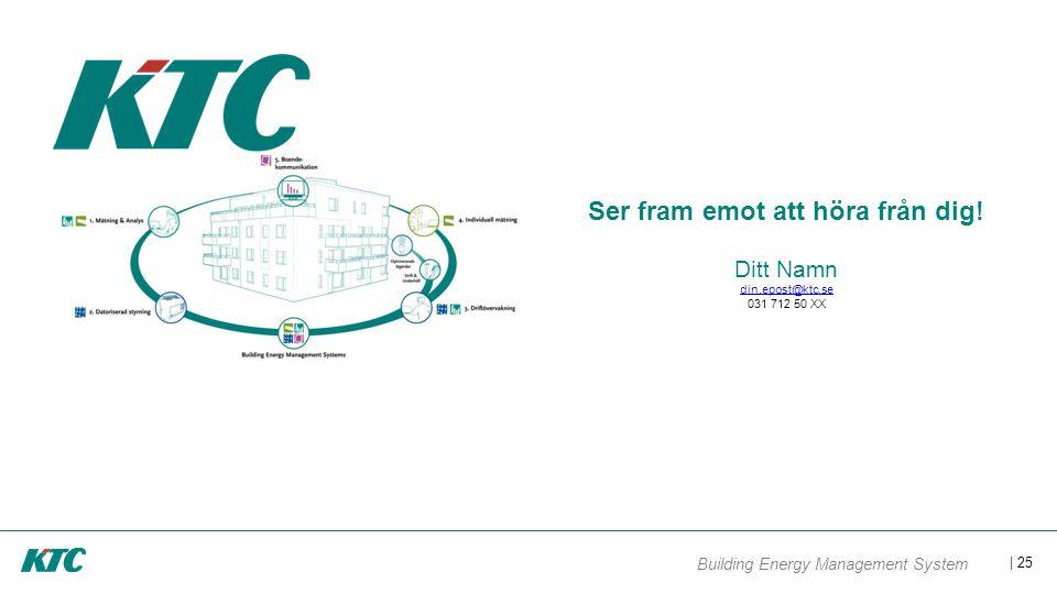 | 25 Building Energy Management System Ser fram emot att höra från dig! Ditt Namn din.epost@ktc.se 031 712 50 XX din.epost@ktc.se