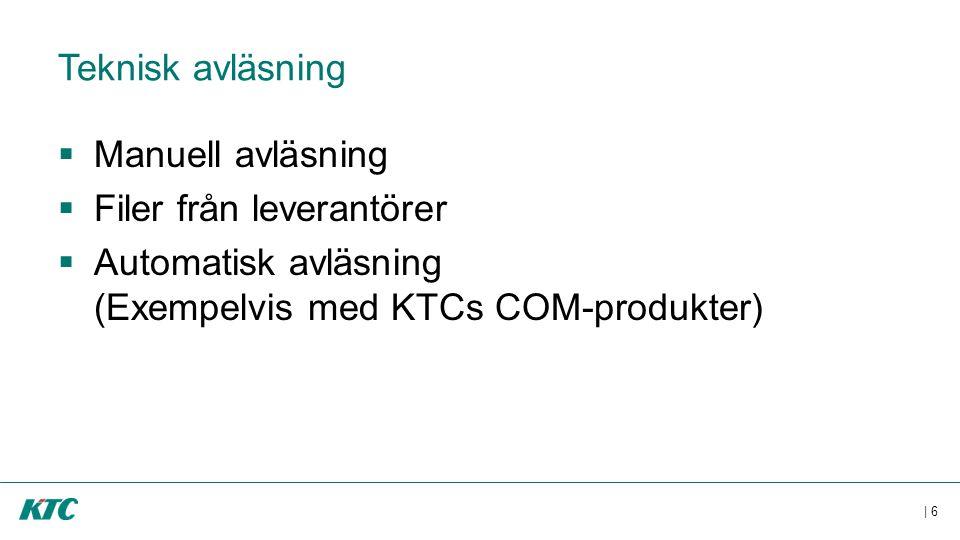 | 6 Teknisk avläsning  Manuell avläsning  Filer från leverantörer  Automatisk avläsning (Exempelvis med KTCs COM-produkter)