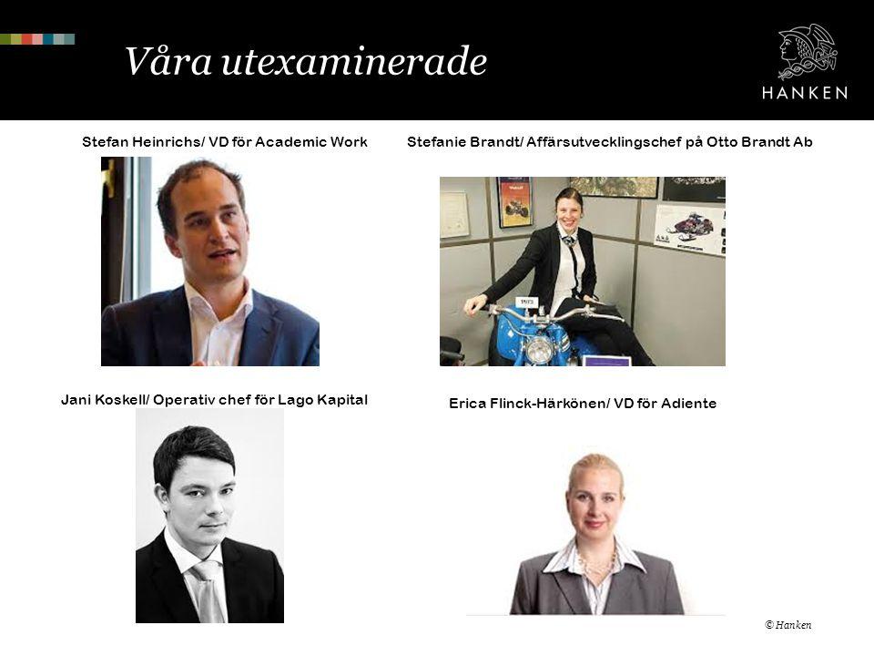 Våra utexaminerade © Hanken Stefan Heinrichs/ VD för Academic WorkStefanie Brandt/ Affärsutvecklingschef på Otto Brandt Ab Jani Koskell/ Operativ chef