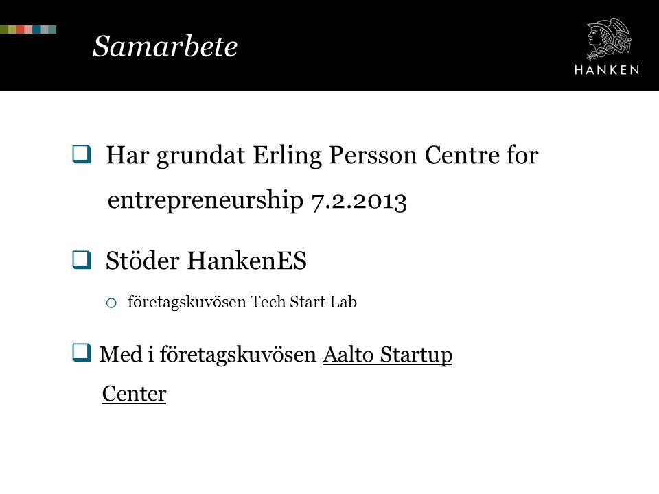 Samarbete  Har grundat Erling Persson Centre for entrepreneurship 7.2.2013  Stöder HankenES o företagskuvösen Tech Start Lab  Med i företagskuvösen