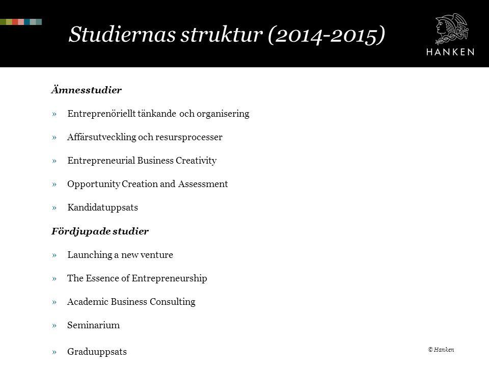 Studiernas struktur (2014-2015) Ämnesstudier »Entreprenöriellt tänkande och organisering »Affärsutveckling och resursprocesser »Entrepreneurial Busine