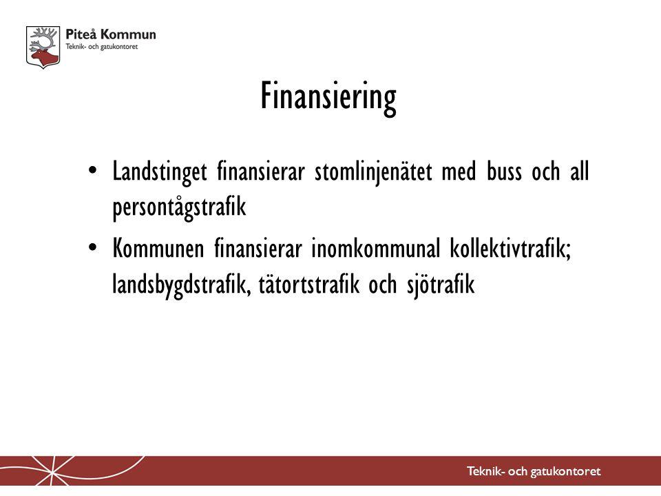 Landstinget finansierar stomlinjenätet med buss och all persontågstrafik Kommunen finansierar inomkommunal kollektivtrafik; landsbygdstrafik, tätortstrafik och sjötrafik Finansiering Teknik- och gatukontoret