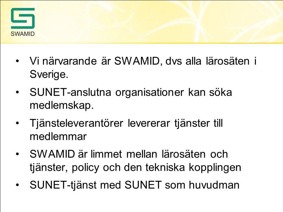 Vi närvarande är SWAMID, dvs alla lärosäten i Sverige. SUNET-anslutna organisationer kan söka medlemskap. Tjänsteleverantörer levererar tjänster till