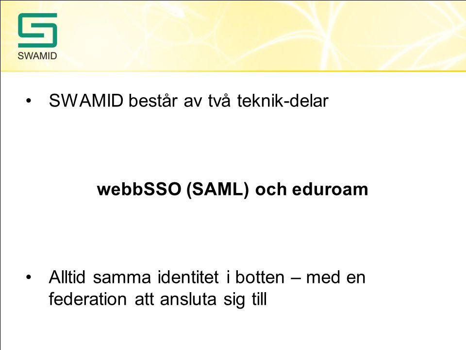 SWAMID består av två teknik-delar webbSSO (SAML) och eduroam Alltid samma identitet i botten – med en federation att ansluta sig till