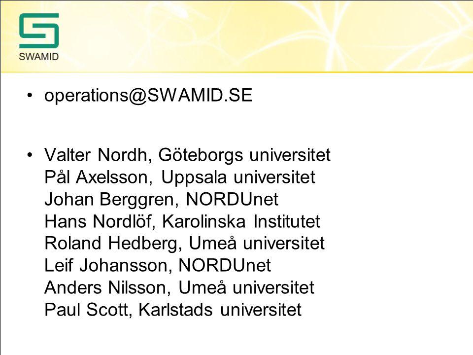 operations@SWAMID.SE Valter Nordh, Göteborgs universitet Pål Axelsson, Uppsala universitet Johan Berggren, NORDUnet Hans Nordlöf, Karolinska Institute