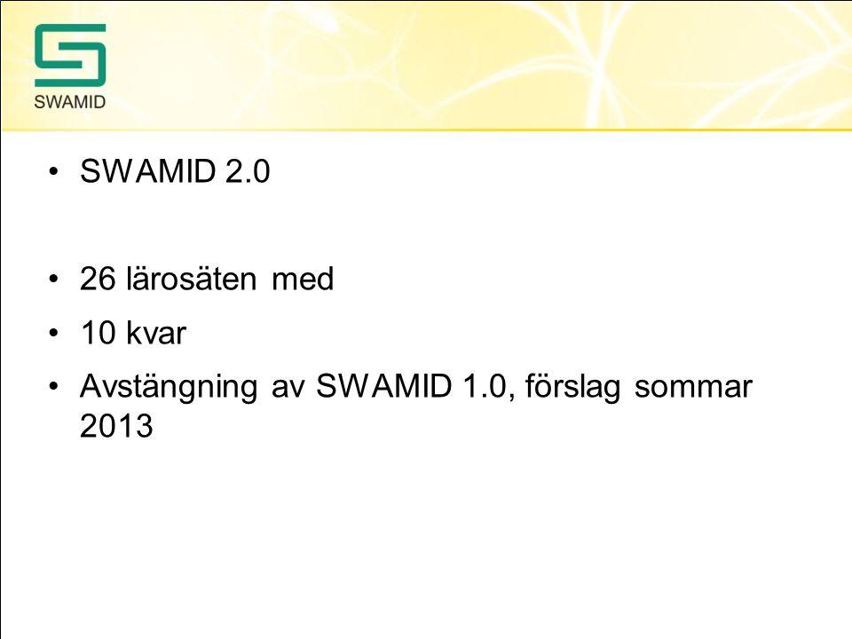 SWAMID 2.0 26 lärosäten med 10 kvar Avstängning av SWAMID 1.0, förslag sommar 2013