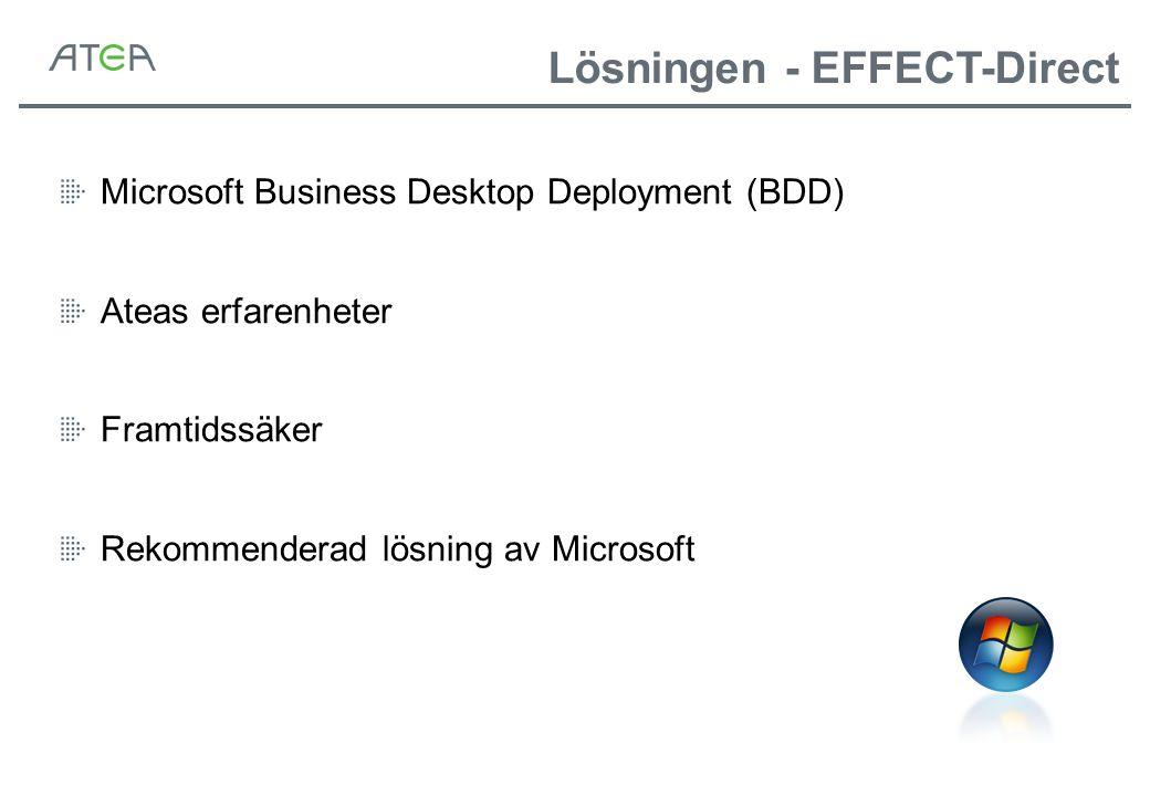 Microsoft Business Desktop Deployment (BDD) Ateas erfarenheter Framtidssäker Rekommenderad lösning av Microsoft Lösningen - EFFECT-Direct