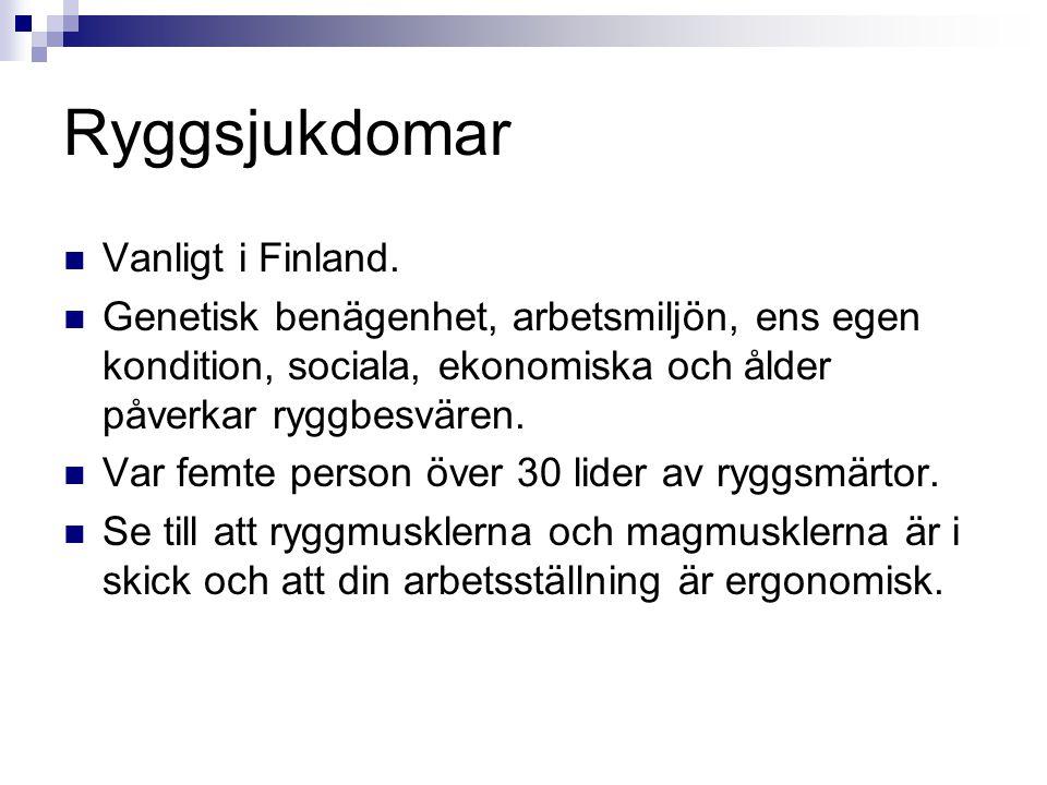 Ryggsjukdomar Vanligt i Finland. Genetisk benägenhet, arbetsmiljön, ens egen kondition, sociala, ekonomiska och ålder påverkar ryggbesvären. Var femte