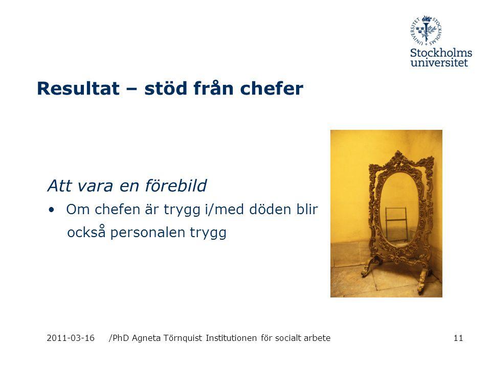 Resultat – stöd från chefer Att vara en förebild Om chefen är trygg i/med döden blir också personalen trygg 2011-03-16/PhD Agneta Törnquist Institutionen för socialt arbete11