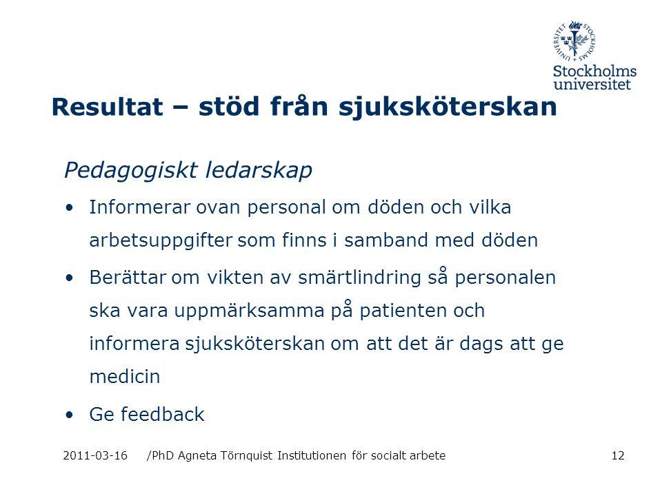 Resultat – stöd från sjuksköterskan Pedagogiskt ledarskap Informerar ovan personal om döden och vilka arbetsuppgifter som finns i samband med döden Berättar om vikten av smärtlindring så personalen ska vara uppmärksamma på patienten och informera sjuksköterskan om att det är dags att ge medicin Ge feedback 2011-03-16/PhD Agneta Törnquist Institutionen för socialt arbete12