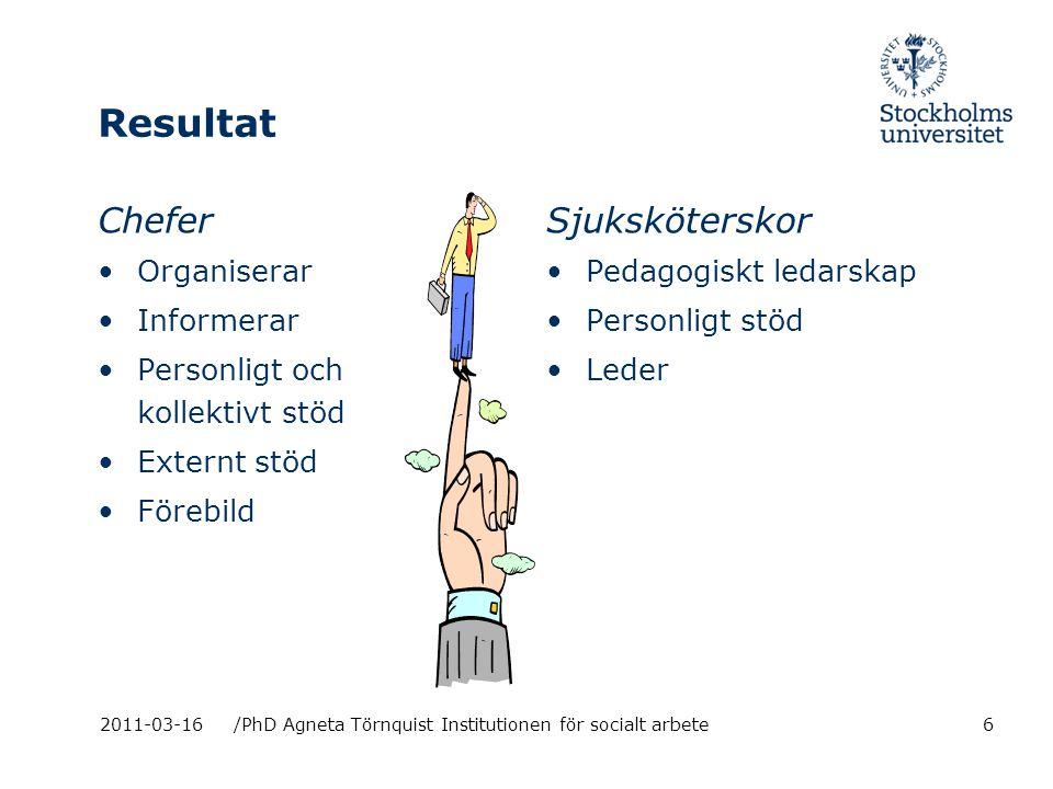 Resultat Chefer Organiserar Informerar Personligt och kollektivt stöd Externt stöd Förebild Sjuksköterskor Pedagogiskt ledarskap Personligt stöd Leder 2011-03-16/PhD Agneta Törnquist Institutionen för socialt arbete6
