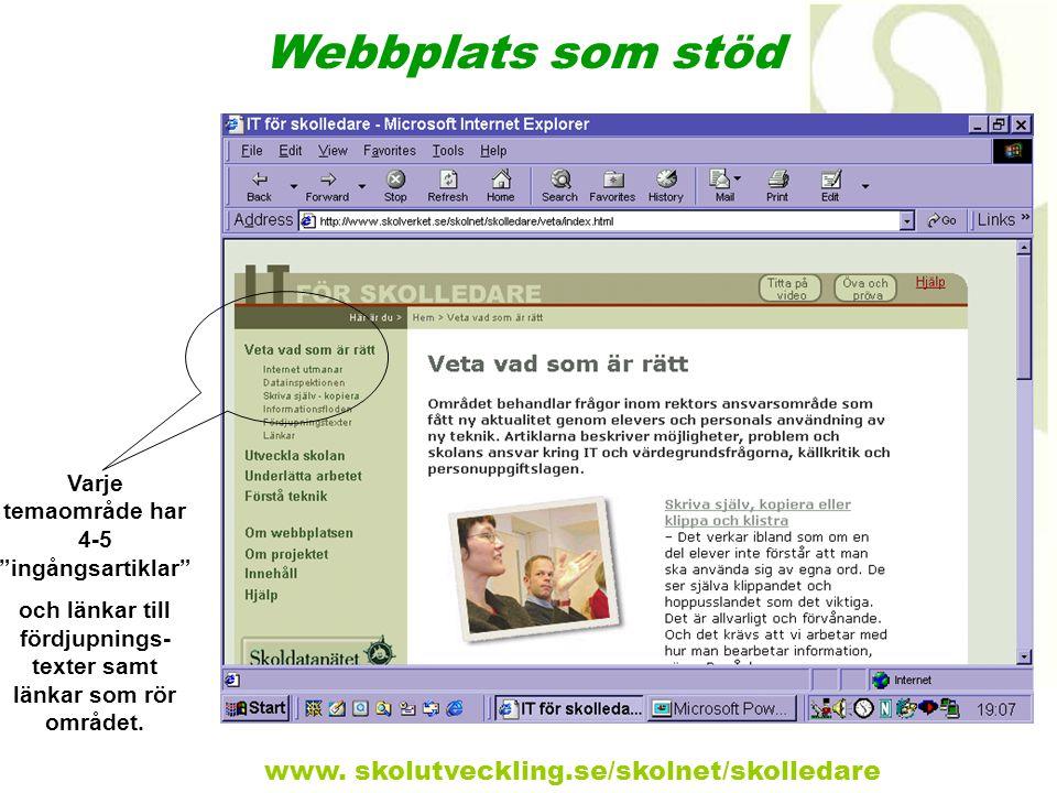 """Varje temaområde har 4-5 """"ingångsartiklar"""" och länkar till fördjupnings- texter samt länkar som rör området. Webbplats som stöd www. skolutveckling.se"""