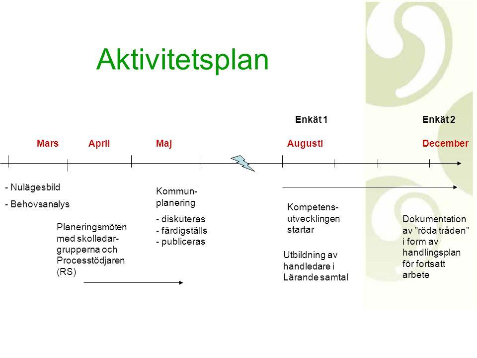 - Nulägesbild - Behovsanalys Mars Planeringsmöten med skolledar- grupperna och Processtödjaren (RS) Kommun- planering - diskuteras - färdigställs - pu