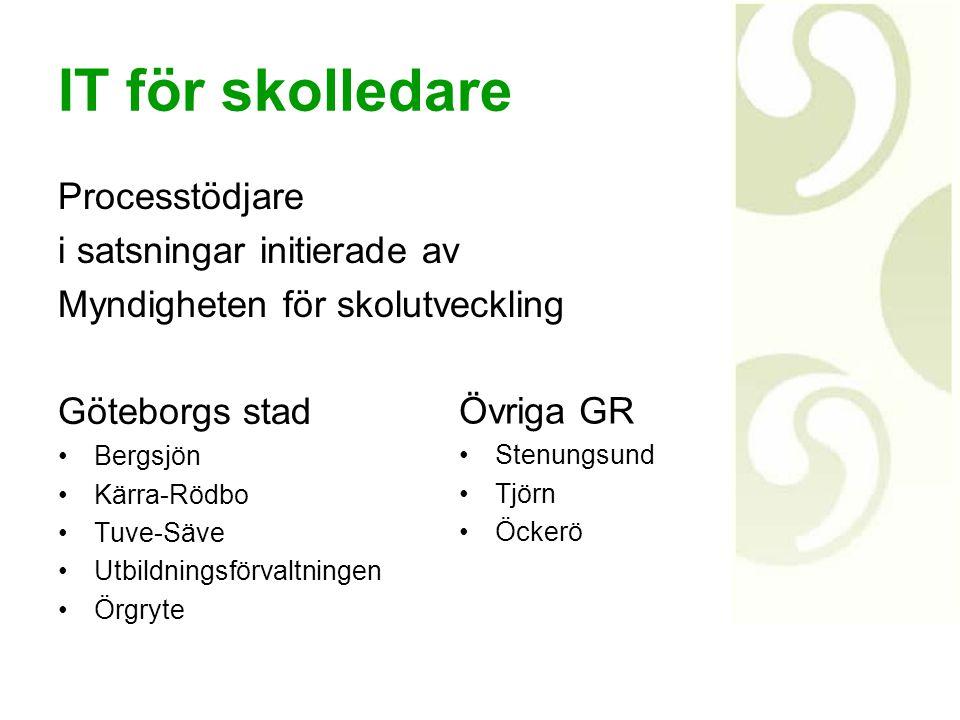 IT för skolledare Processtödjare i satsningar initierade av Myndigheten för skolutveckling Göteborgs stad Bergsjön Kärra-Rödbo Tuve-Säve Utbildningsfö