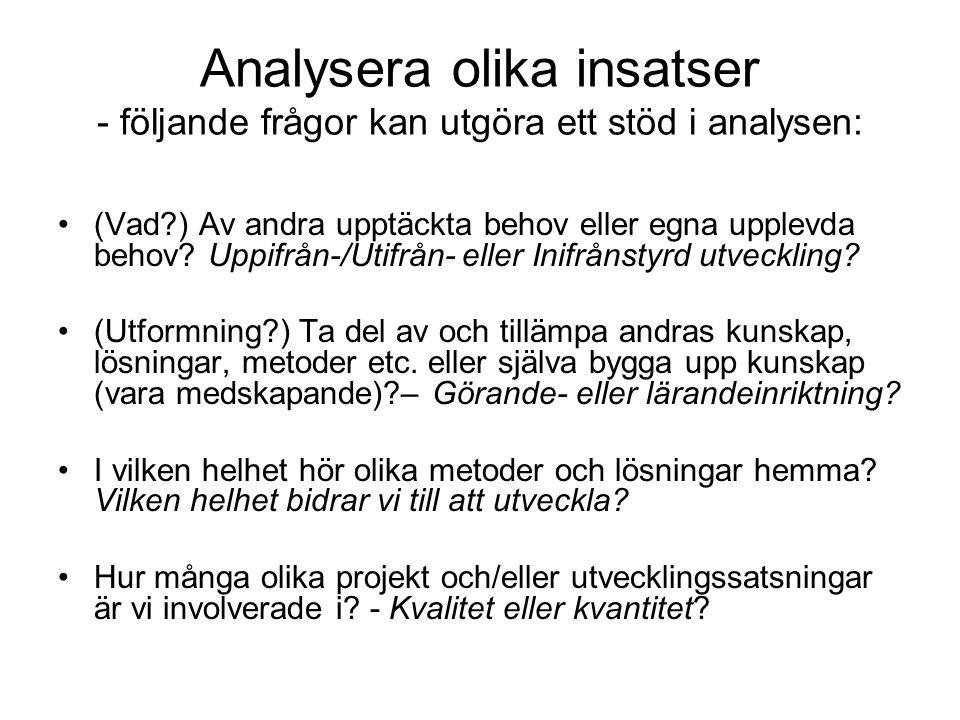 Analysera olika insatser - följande frågor kan utgöra ett stöd i analysen: (Vad?) Av andra upptäckta behov eller egna upplevda behov.