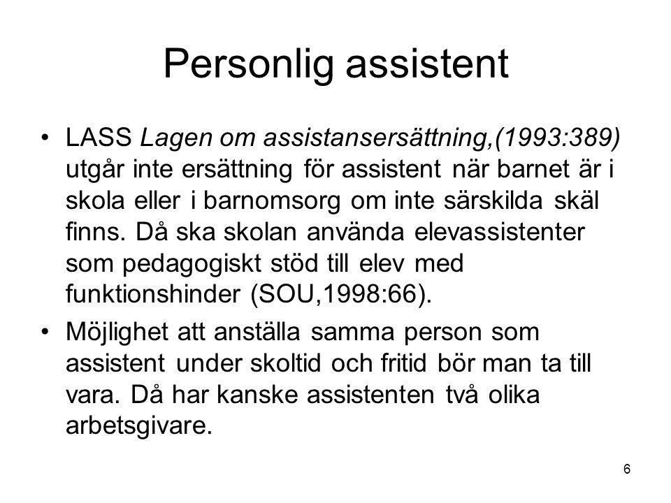 6 Personlig assistent LASS Lagen om assistansersättning,(1993:389) utgår inte ersättning för assistent när barnet är i skola eller i barnomsorg om int