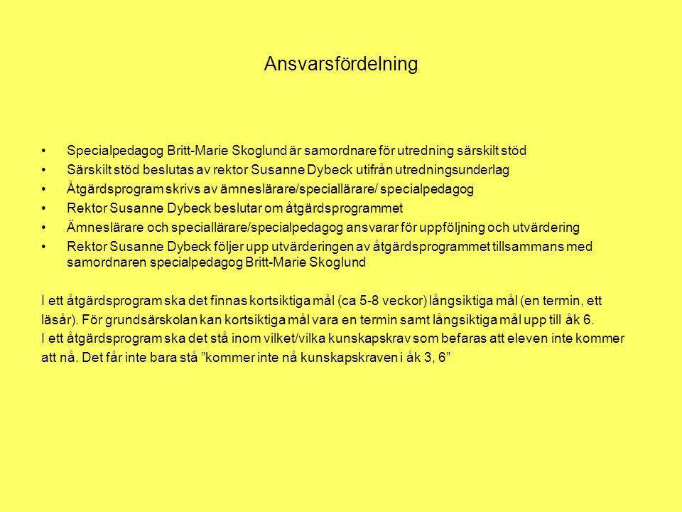Ansvarsfördelning Specialpedagog Britt-Marie Skoglund är samordnare för utredning särskilt stöd Särskilt stöd beslutas av rektor Susanne Dybeck utifrå