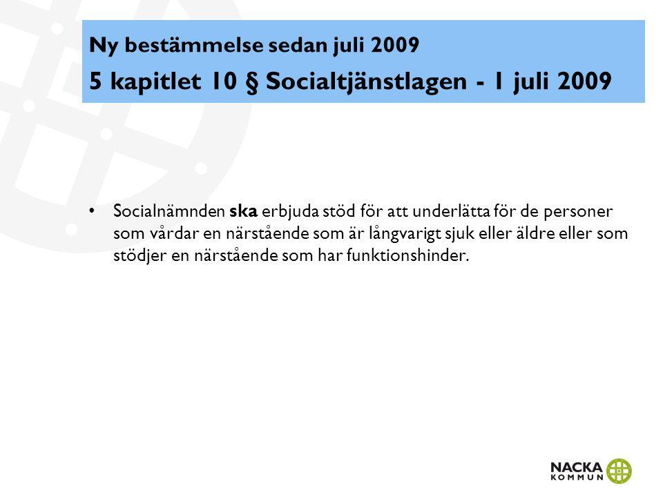 Ny bestämmelse sedan juli 2009 5 kapitlet 10 § Socialtjänstlagen - 1 juli 2009 Socialnämnden ska erbjuda stöd för att underlätta för de personer som v