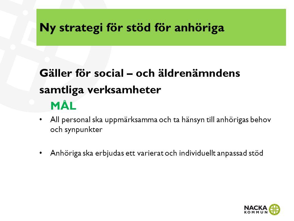 Ny strategi för stöd för anhöriga Gäller för social – och äldrenämndens samtliga verksamheter MÅL All personal ska uppmärksamma och ta hänsyn till anh