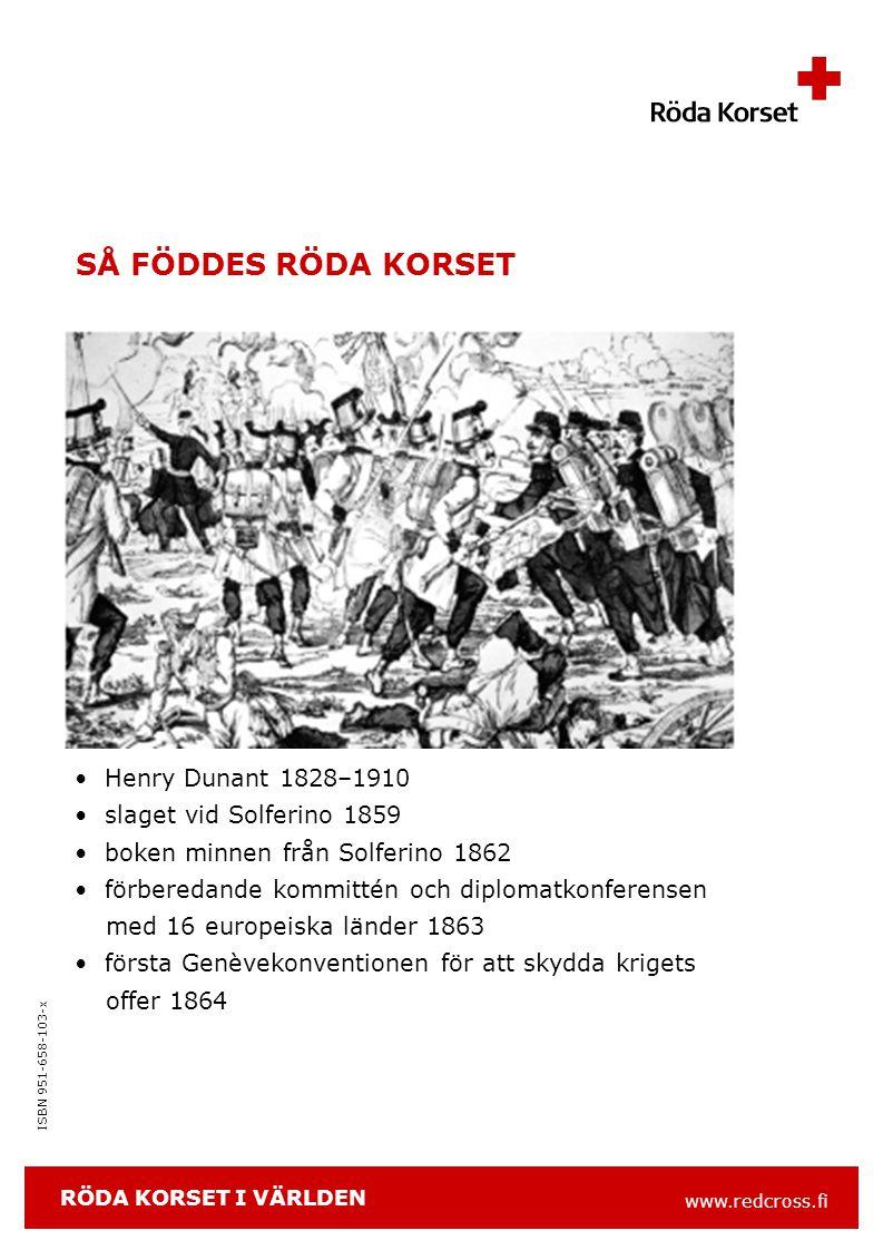 www.redcross.fi ISBN 951-658-103-x EN GLOBAL ORGANISATION NATIONELLA FÖRENINGAR i 186 länder 100 miljoner medlemmar och frivilliga RÖDAKORS- OCH RÖDA HALVMÅNE- FEDERATIONEN (IFRC) INTERNATIONELLA RÖDAKORS- KONFERENSEN STATER SOM UNDERTECKNAT GENÈVE- KONVENTIONERNA INTERNATIONELLA RÖDAKORS- KOMMITTÉN (ICRC) RÖDA KORSET I VÄRLDEN