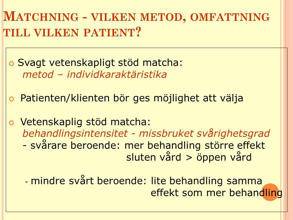 M ATCHNING - VILKEN METOD, OMFATTNING TILL VILKEN PATIENT ? Svagt vetenskapligt stöd matcha: metod – individkaraktäristika Patienten/klienten bör ges