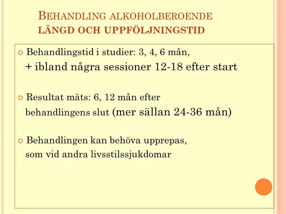 B EHANDLING ALKOHOLBEROENDE LÄNGD OCH UPPFÖLJNINGSTID Behandlingstid i studier: 3, 4, 6 mån, + ibland några sessioner 12-18 efter start Resultat mäts: 6, 12 mån efter behandlingens slut (mer sällan 24-36 mån) Behandlingen kan behöva upprepas, som vid andra livsstilssjukdomar