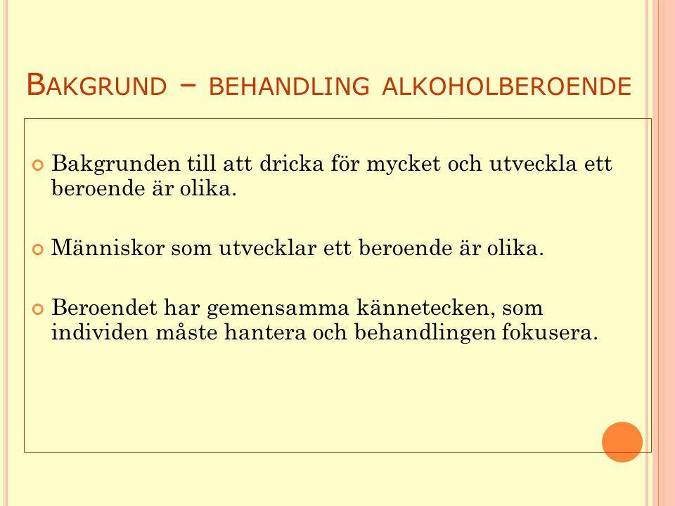 B AKGRUND – BEHANDLING ALKOHOLBEROENDE Bakgrunden till att dricka för mycket och utveckla ett beroende är olika.