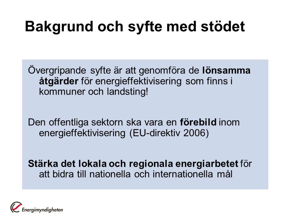 Bakgrund och syfte med stödet Övergripande syfte är att genomföra de lönsamma åtgärder för energieffektivisering som finns i kommuner och landsting.