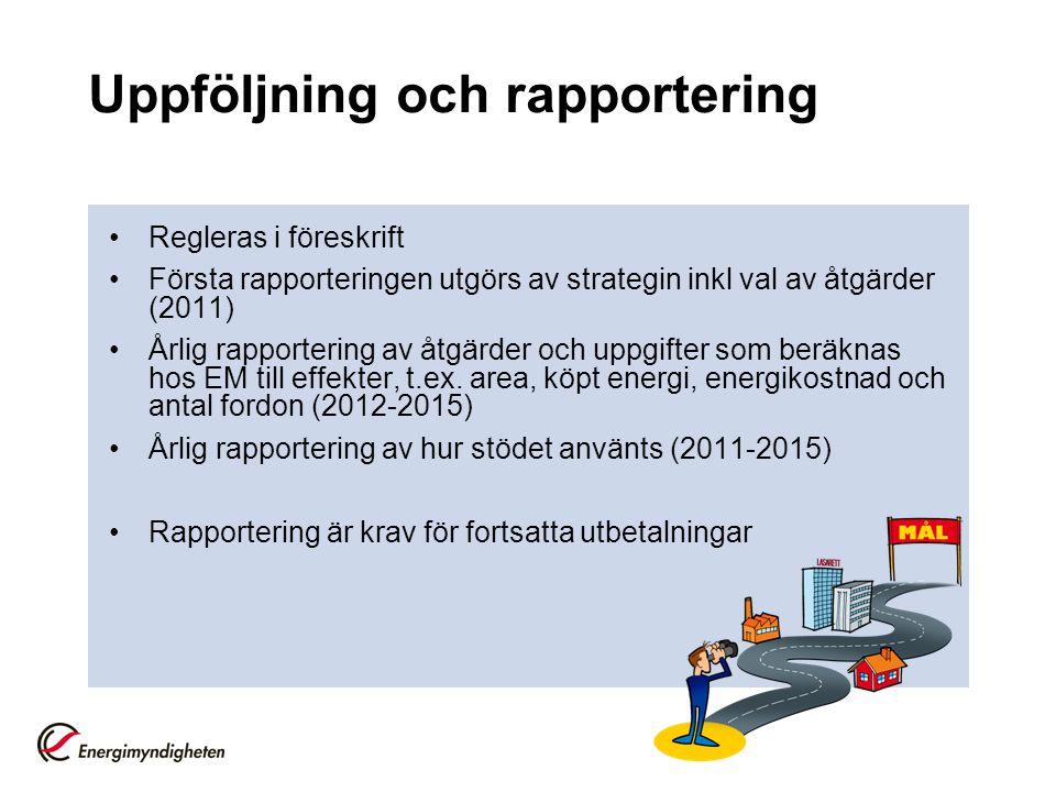 Uppföljning och rapportering Regleras i föreskrift Första rapporteringen utgörs av strategin inkl val av åtgärder (2011) Årlig rapportering av åtgärder och uppgifter som beräknas hos EM till effekter, t.ex.