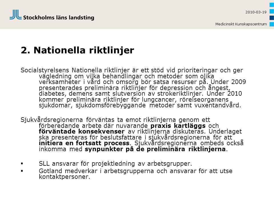 Medicinskt Kunskapscentrum 2010-03-19 2. Nationella riktlinjer Socialstyrelsens Nationella riktlinjer är ett stöd vid prioriteringar och ger väglednin