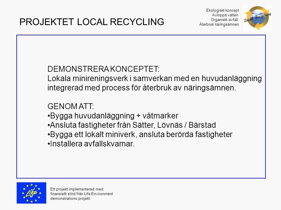 DEMONSTRERA KONCEPTET: Lokala minireningsverk i samverkan med en huvudanläggning integrerad med process för återbruk av näringsämnen. GENOM ATT: Bygga