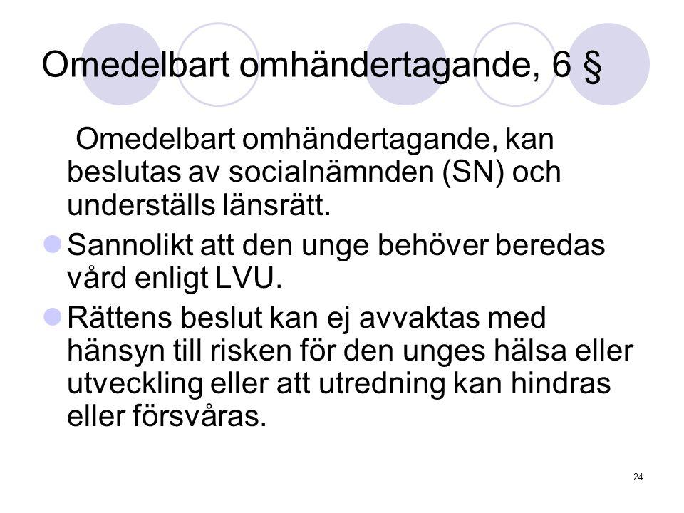 24 Omedelbart omhändertagande, 6 § Omedelbart omhändertagande, kan beslutas av socialnämnden (SN) och underställs länsrätt. Sannolikt att den unge beh
